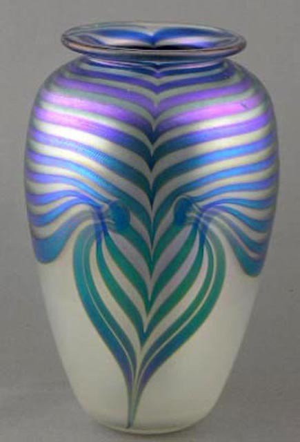 "20:  Art Glass ""Pulled Feather"" Baluster Vase, 2"