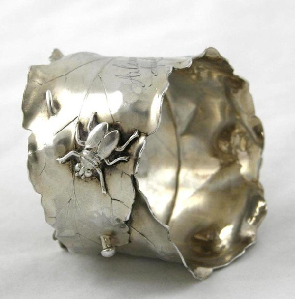 299:  Unusual Sterling Napkin Ring, c. 1885, by