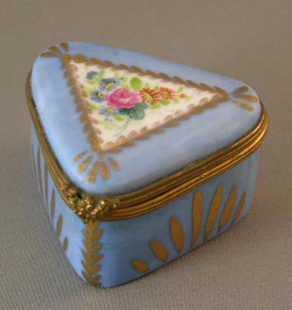 755:  Sevres Style Triangular Brass Mounted Po