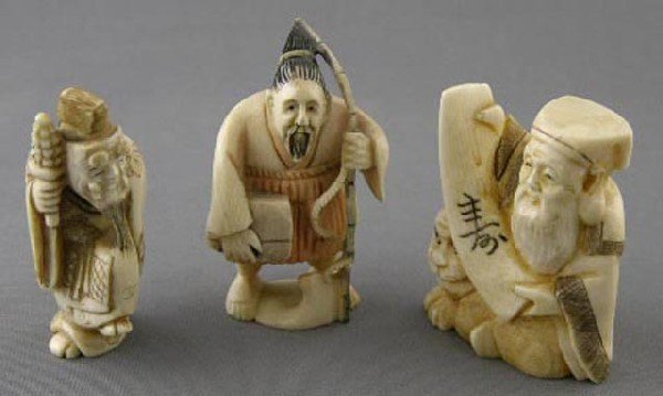 766:  Three Carved Ivory Netsukes, early 20th