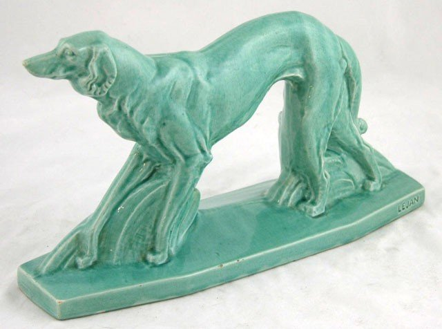 4: Art Deco Aqua Glazed Ceramic Figure of a Borzoi, 20t