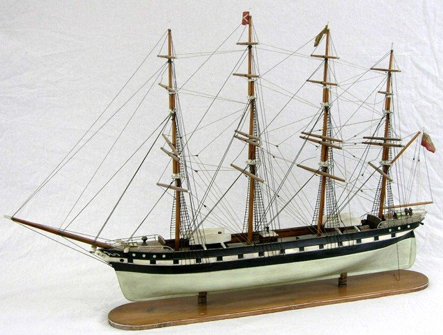 5: Large Carved Mahogany Ship's Model, 20th c., with tw