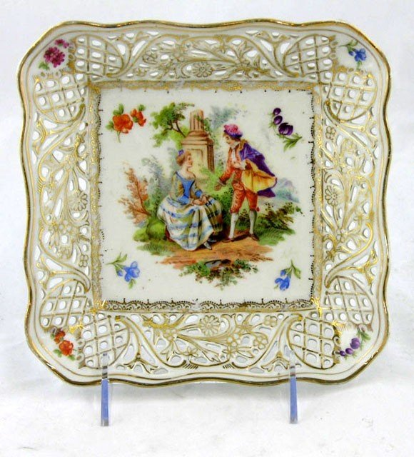 8: Porcelain Dresden Style Square Dish, early 20th c.,