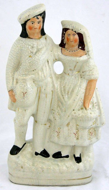 16: Large Staffordshire Figure of a Couple, 19th c., wi