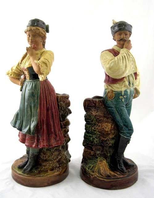 18: Pair of German Glazed Earthenware Figural Vases, 19