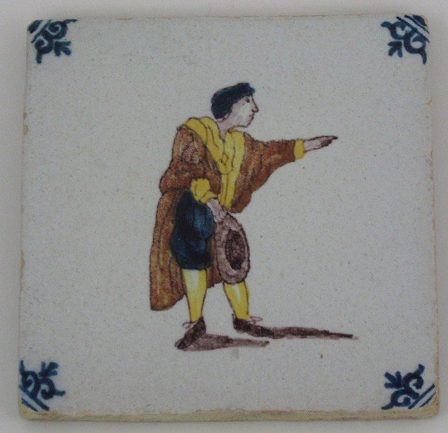 20: Dutch Glazed Tile, 19th c., with polychromed figura