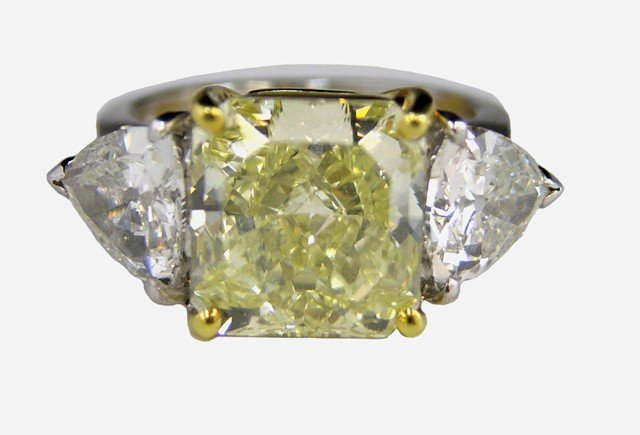 "485: Platinum 6.2 Carat ""Fancy Yellow"" Square Diamond R"
