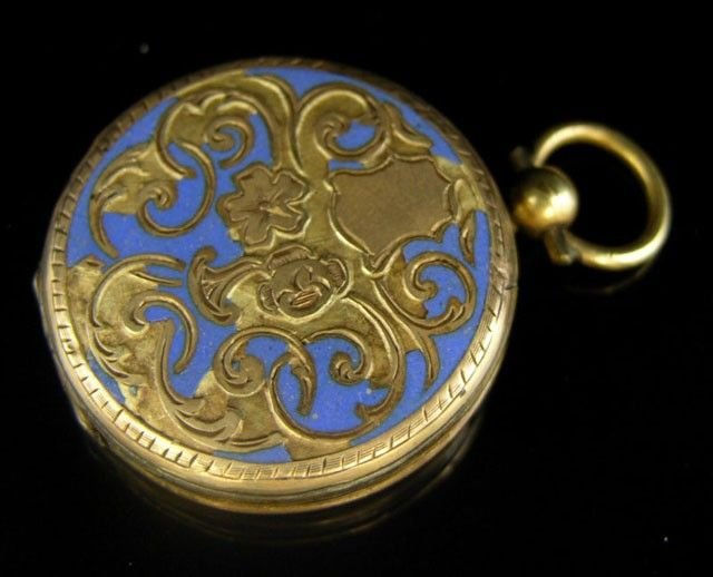 755: Enameled Gold Filled Locket, 19th c., the interior