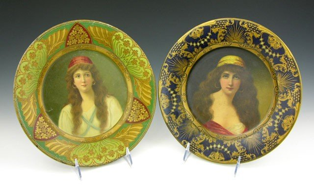 4: Pair of Vienna Art Metal Plates, c. 1905, one so mar