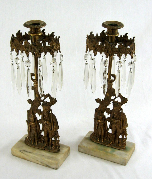 6: Pair of Bronze Prism Hung Girandole Candlesticks, mi