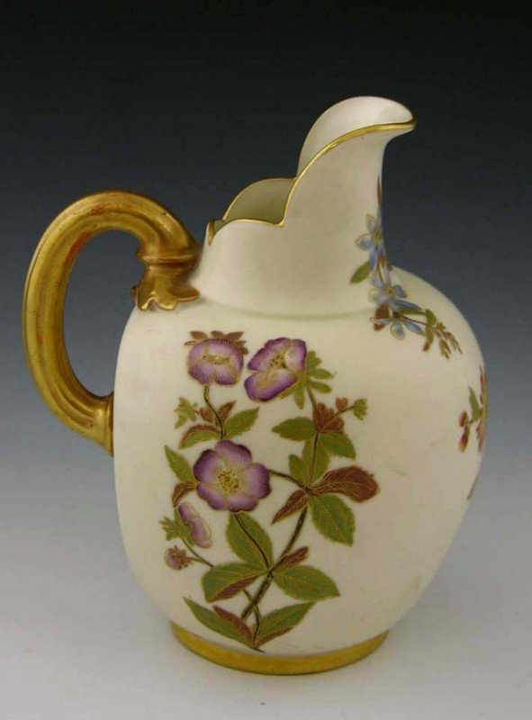 13: Royal Worcester Matte Glaze Milk Pitcher, c. 1885,