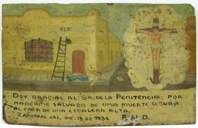 21: Mexican Retablo, 1934, oil on tin, giving thanks fo