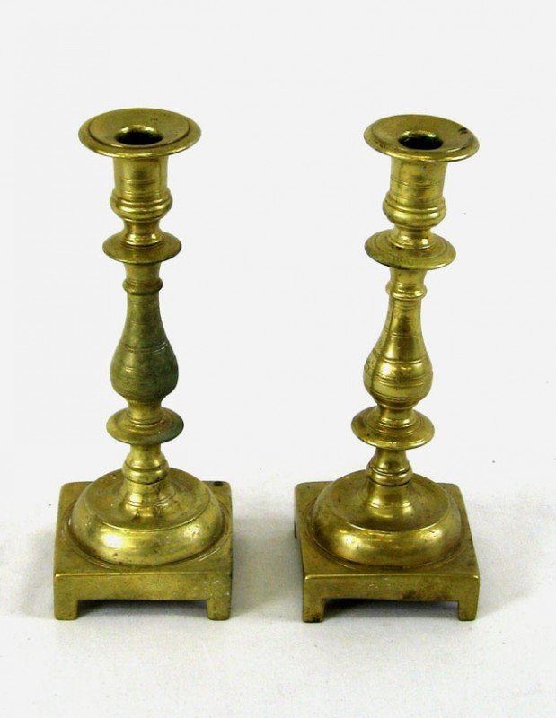 23: Pair of Heavy Brass Candlesticks, 19th c., with tur