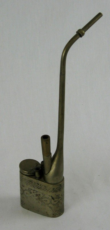 24: Nickel Plated Opium Pipe, late 19th c., with incise
