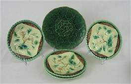 113 Five Circular Majolica Plates 19thc one of cabb