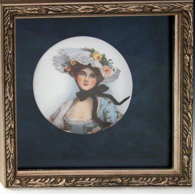 802: Circular Porcelain Plaque, c. 1890, depiction a wo