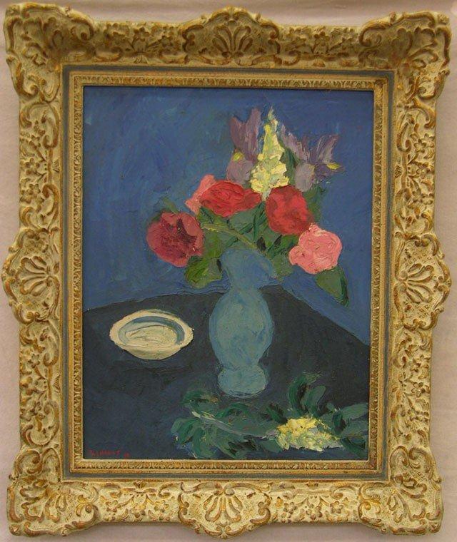 """806: G. Shanus, """"Flowers in a Blue Vase,"""" 1958, oil on"""