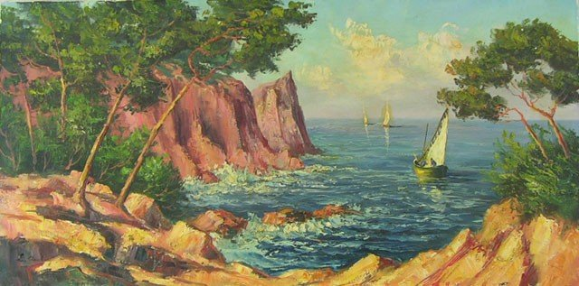 "807: Louis Andrey, ""Mediterranean Port Scene,"" 20th c.,"