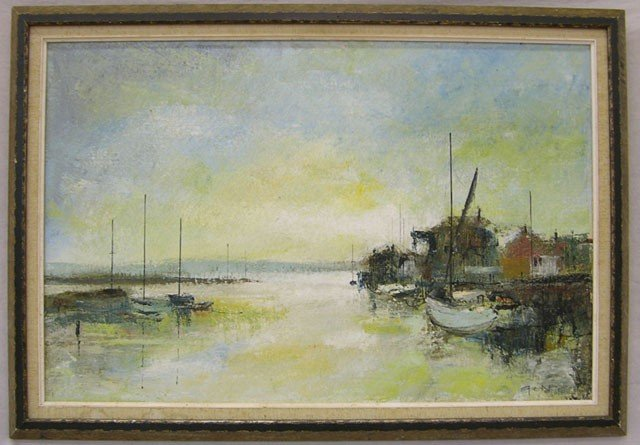 "809: Les Spence, ""Harbor,"" 20th c., signed l.r., framed"