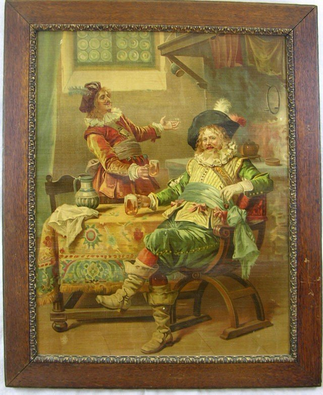 810: Pair of Prints on Canvas, c. 1880, of 18th c. tave