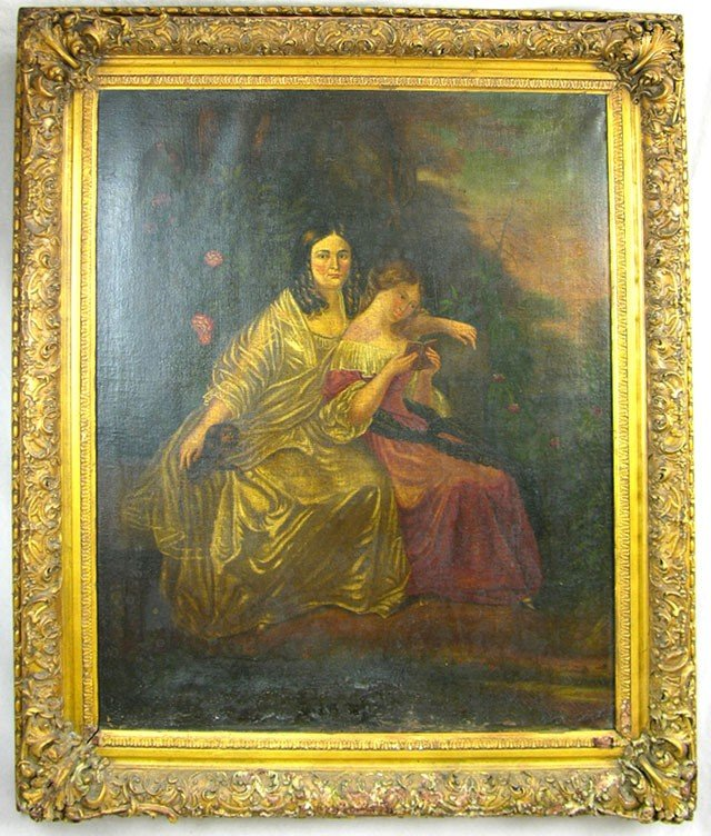 "813: American School, ""Mother and Daughter,"" mid 19th c"