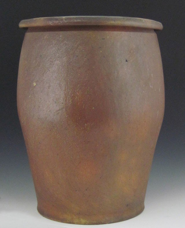 815: French Brown Glazed Earthenware Baluster Form Oil