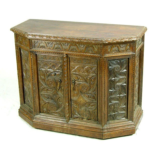 816: French Carved Oak Renaissance Style Server, 17th c