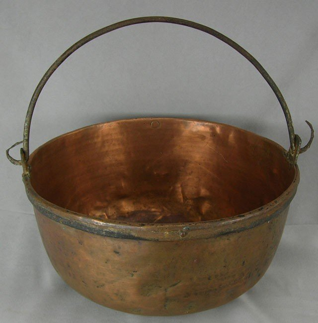 823: Large Copper Cooking Pot, 19th c., with a folding