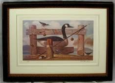 935 Paul Riba Canada Goose 20th c colored print