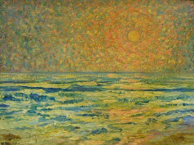 "942: Frank Coburn (1862-1938), ""Sunset on the Sea,"" 20t"