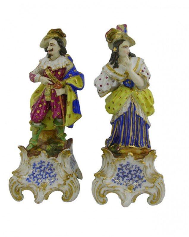 1004: Pair of Polychromed Old Paris Porcelain Room Scen