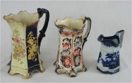 1097: Three English Polychromed Ceramic Milk Pitchers,