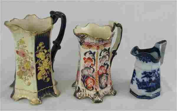 Three English Polychromed Ceramic Milk Pitchers,