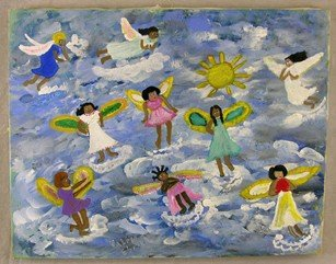 """1: Valree Eberle, """"Angels Are A'Flying,"""" 20th c., oil o"""