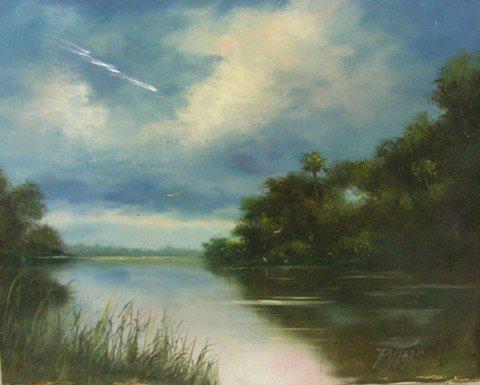 "2: Pittard, ""Swamp Scene,"" 20th c., oil on canvas, sign"