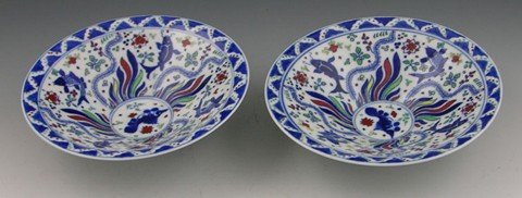 7: Pair of Chinese Footed Porcelain Rice Bowls, late 19