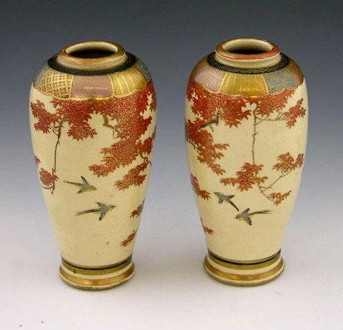 14: Pair of Diminutive Satsuma Baluster Vases, c. 1900,