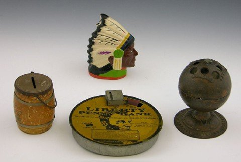 15: Group of Four Coin Banks- a tin Liberty penny bank,