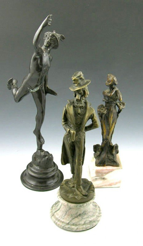 16: Group of Three Bronze Figures, 20th c., Mercury, an
