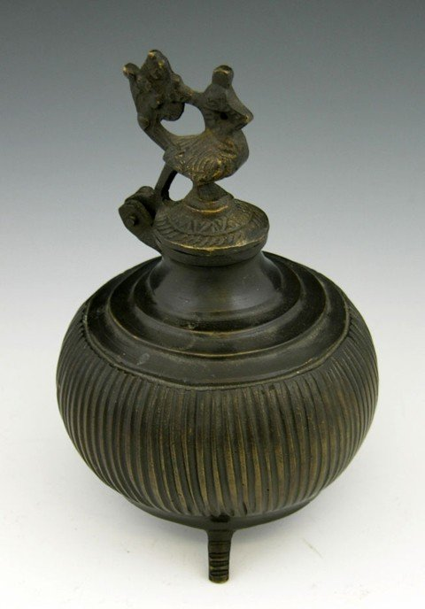23: Japanese Bronze Covered Vessel, late 19th c., the h