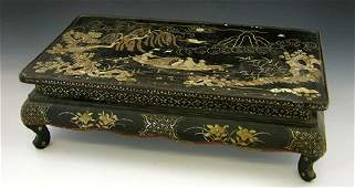 Chinese Black Lacquer Low Table, c. 1900, with inl