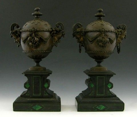 597: Pair of Bronze Neoclassical Covered Urn Garnitures