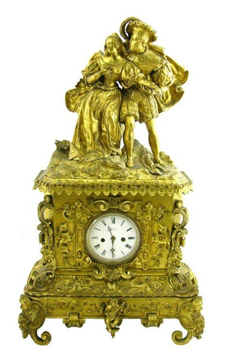 600: Large Napoleon III Gilt-Lacquered Brass Figural Ma
