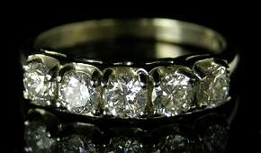 623 Ladys 14K White Gold Dinner Ring mid 20th c mo