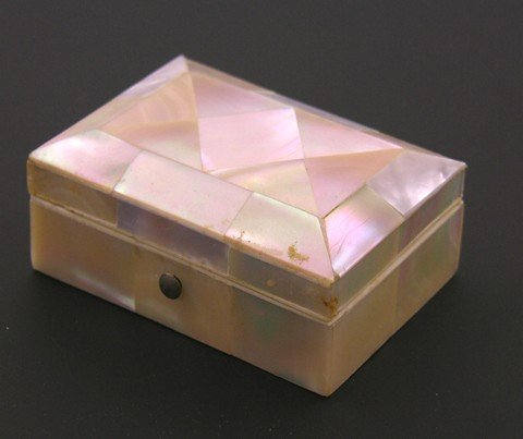 803: English Mother-of-Pearl Patch Box, mid 19th c., wi