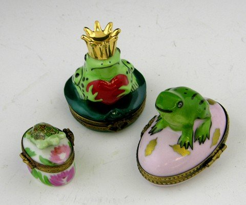 814: Group of Three Limoges Hand Painted Dresser Boxes,