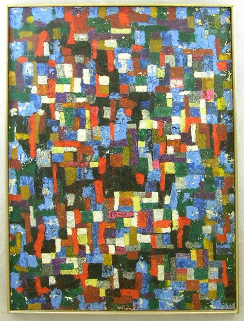 """822: Continental School, """"Abstract,"""" 1954, oil on canva"""