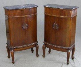 Pair Of Marble Top Demi-Lune Console Cabinets, C.