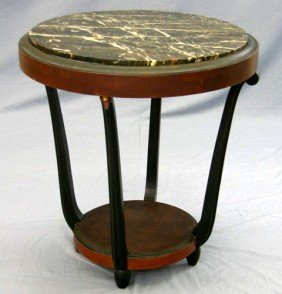Art Deco Carved Mahogany Circular Marble Top Cente