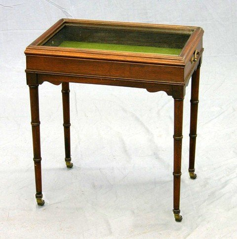 896: Diminutive Carved Mahogany Display Table, c. 1910,